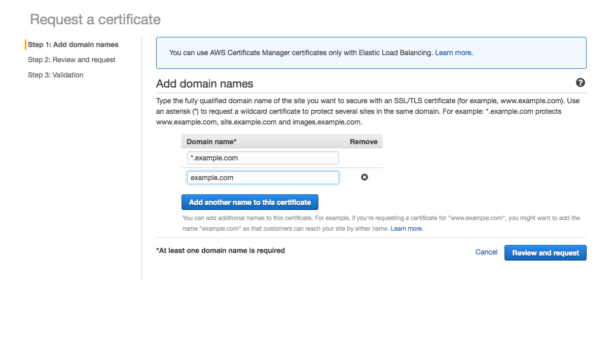 Set free ssl by using aws acm if you want to set ssl to example without sub domain too click add another name to this certificate and input example there thats it xflitez Choice Image