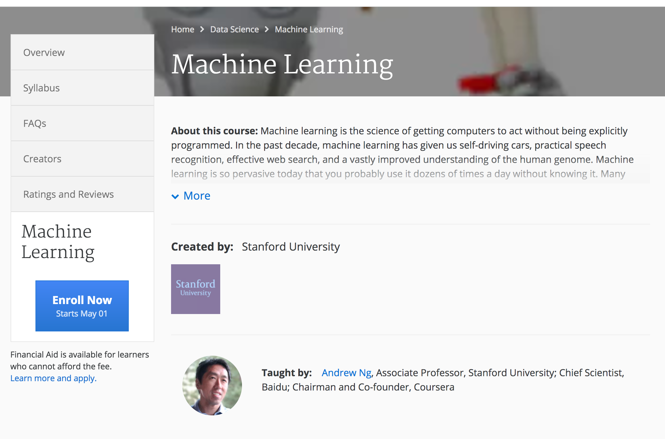 Stanford Machine Learning Course