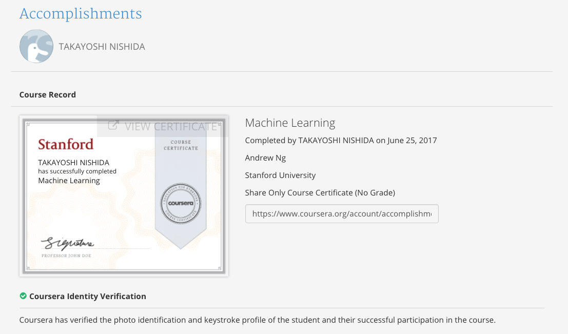 Completed The Machine Learning Course By Stanford University