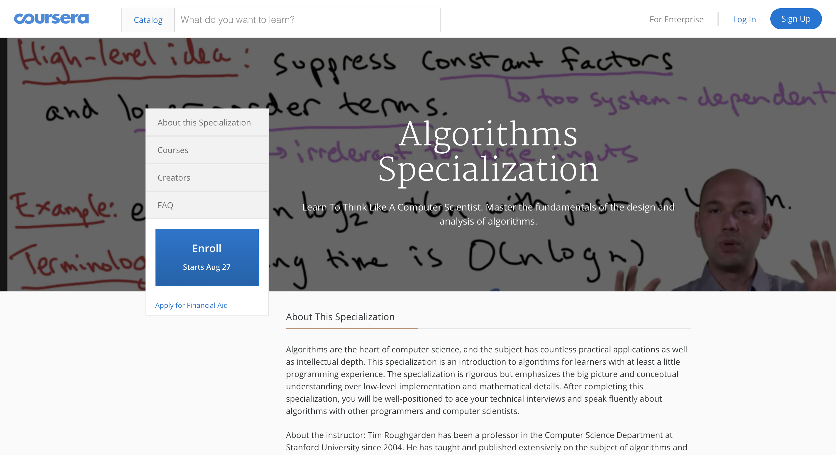 Algorithms by Stanford University on Coursera