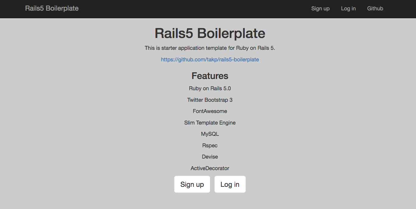 Rails5 Boilerplate top page